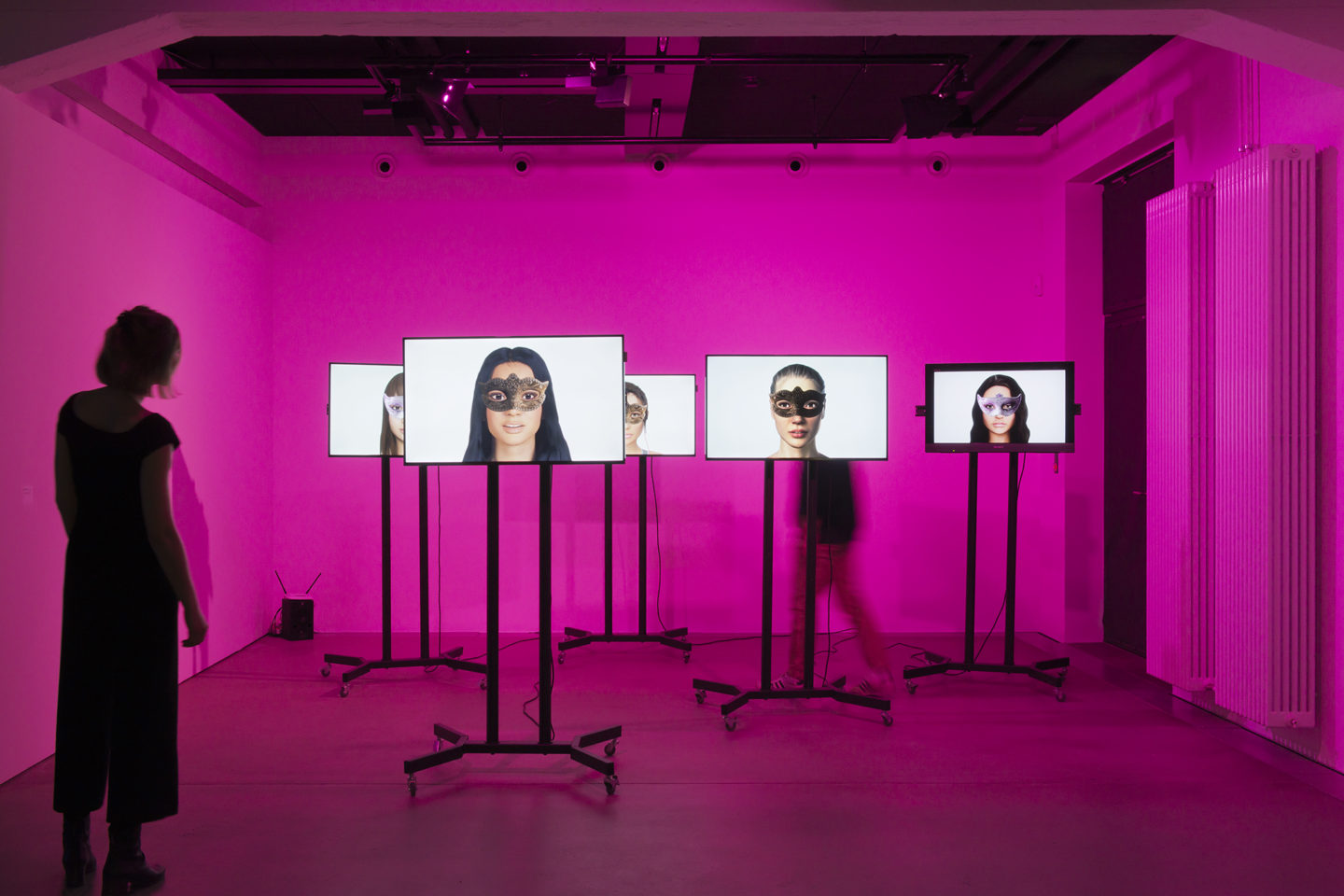 """Installation View !Mediengruppe Bitnik """"Ashley Madison Angels At Work in Basel, 2018"""" at HEK, Basel / Photo: Franz Wamhof / Courtesy: the artists"""