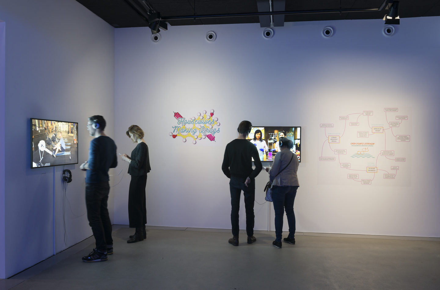 """Installation View Mary Maggic """"Housewives Making Drugs, 2017"""" (in front), Micha Cárdenas """"#stronger, 2016"""" (left) at HEK, Basel / Photo: Franz Wamhof / Courtesy: the artists"""