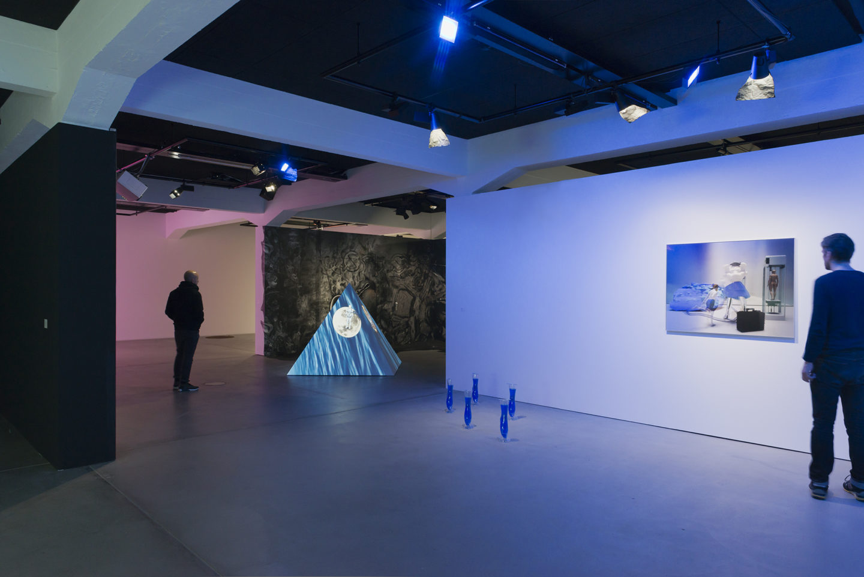 "Installation View Olga Fedorova ""Evil Eyes, 2017"" (right), Tabita Rezaire ""Ultra Wet – Recapitulation, 2018"" (background) at HEK, Basel / Photo: Franz Wamhof / Courtesy: the artists"