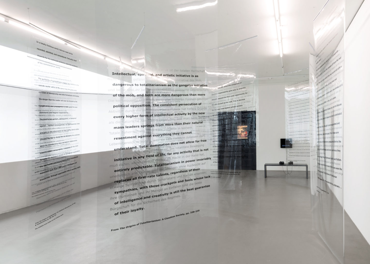 "Exhibition View Martha Rosler ""Reading Hannah Arendt (Politically, for an American in the 21st Century); 2006"" at Kunstmuseum Basel Gegenwart 2018 / Photo: Marc Asekhame / Courtesy: Galerie Nagel Draxler, Berlin and Gallery Mitchell-Innes & Nash, New York"