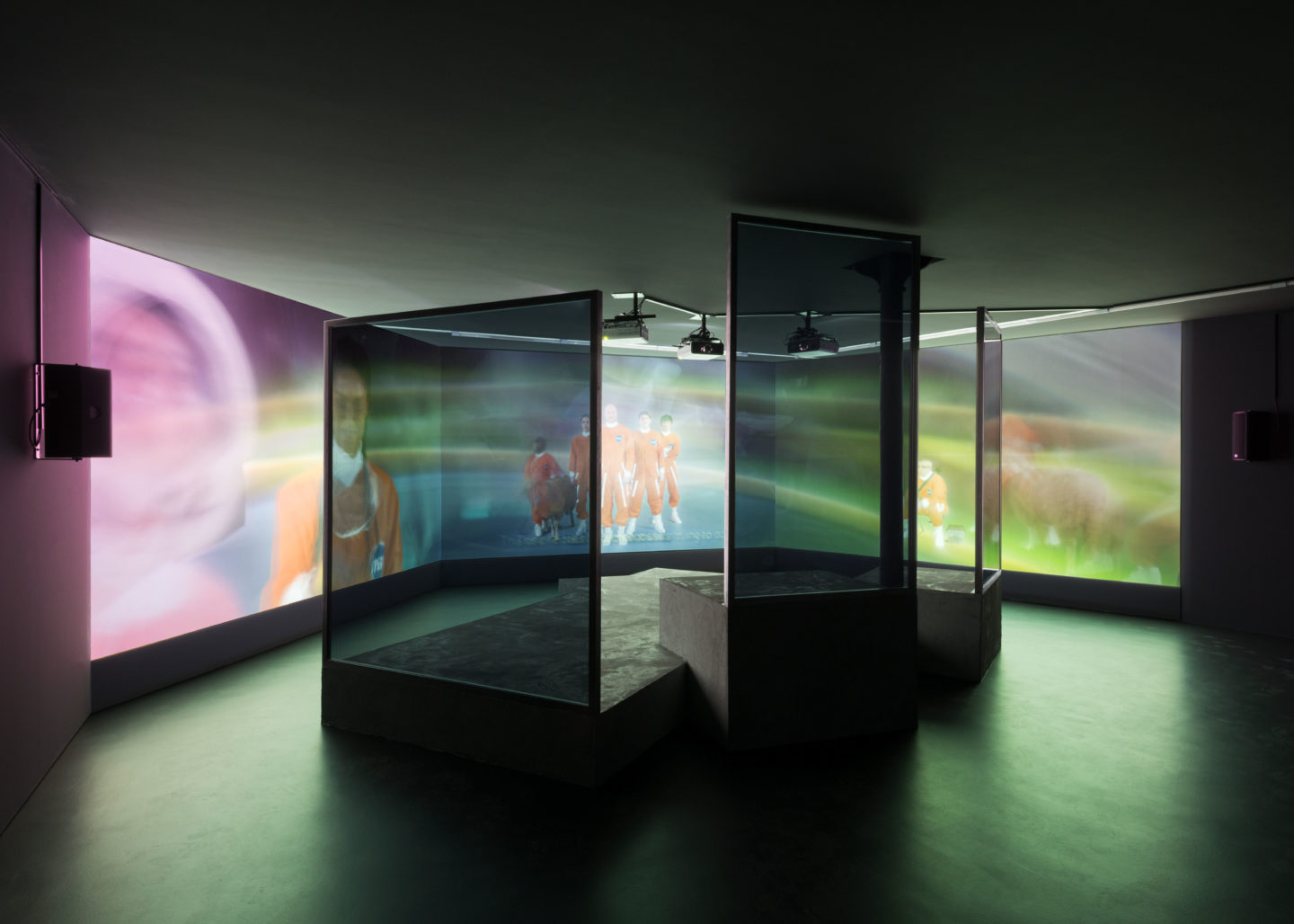 """Exhibition View Hito Steyerl """"ExtraSpaceCraft"""" at Kunstmuseum Basel Gegenwart 2018 / Photo: Marc Asekhame / Courtesy: Andrew Kreps Gallery, New York"""
