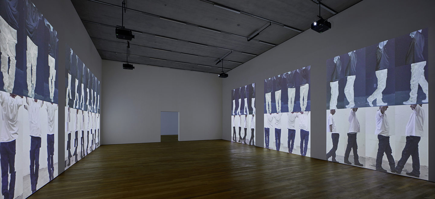 Bruce Nauman: Disappearing Acts, 17 March to 26 August 2018, Schaulager® Münchenstein/Basel, installation view with Bruce Nauman, Contrapposto Studies, i through vii, 2015/2016, Seven-channel video installation (color, sound), seven projections, continuous play, jointly owned by Emanuel Hoffmann Foundation, gift of the president 2017, on permanent loan to the Öffentliche Kunstsammlung Basel; and The Museum of Modern Art, New York, acquired in part through the generosity of Agnes Gund, © Bruce Nauman / 2018, ProLitteris, Zurich, photo: Tom Bisig, Basel