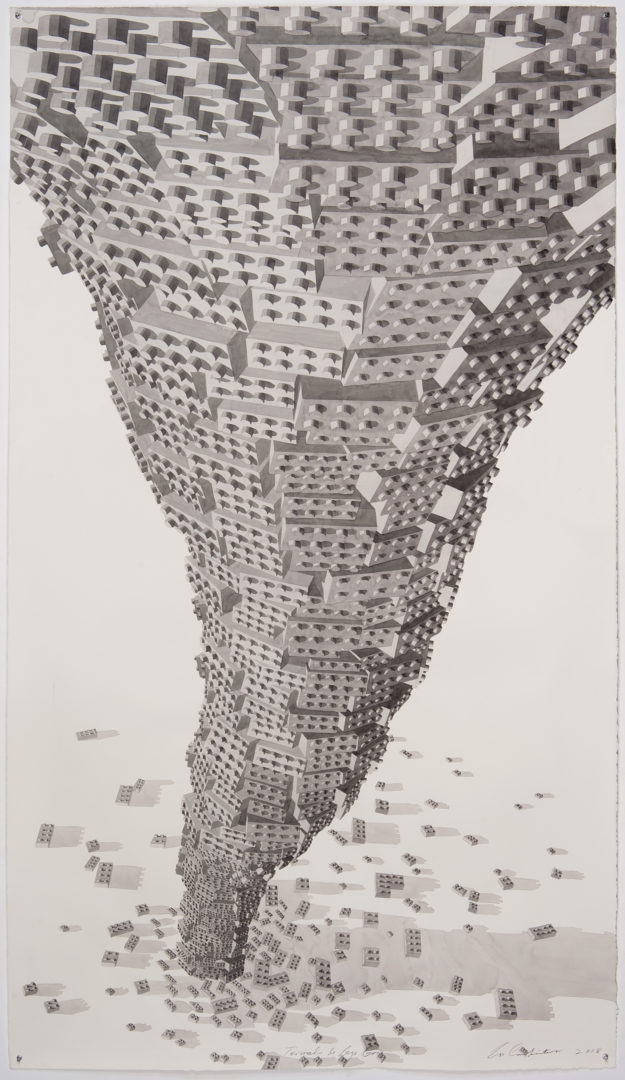 Exhibition View Los Carpinteros «Susurro del Palmar - The Whisper of the Palm Grove / View on: Tornado de Lego Gris, 2018» at Galerie Peter Kilchmann / Courtesy: the artist and Galerie Peter Kilchmann, Zurich