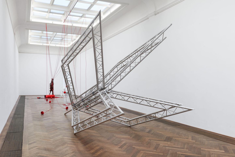 """Installation View Raphaela Vogel """"Ultranackt – view on Kopfschuss, 2018"""" at Kunsthalle Basel, 2018 / Photo: Philipp Hänger / Courtesy of the artist; BQ, Berlin; and Galerie Gregor Staiger, Zurich."""