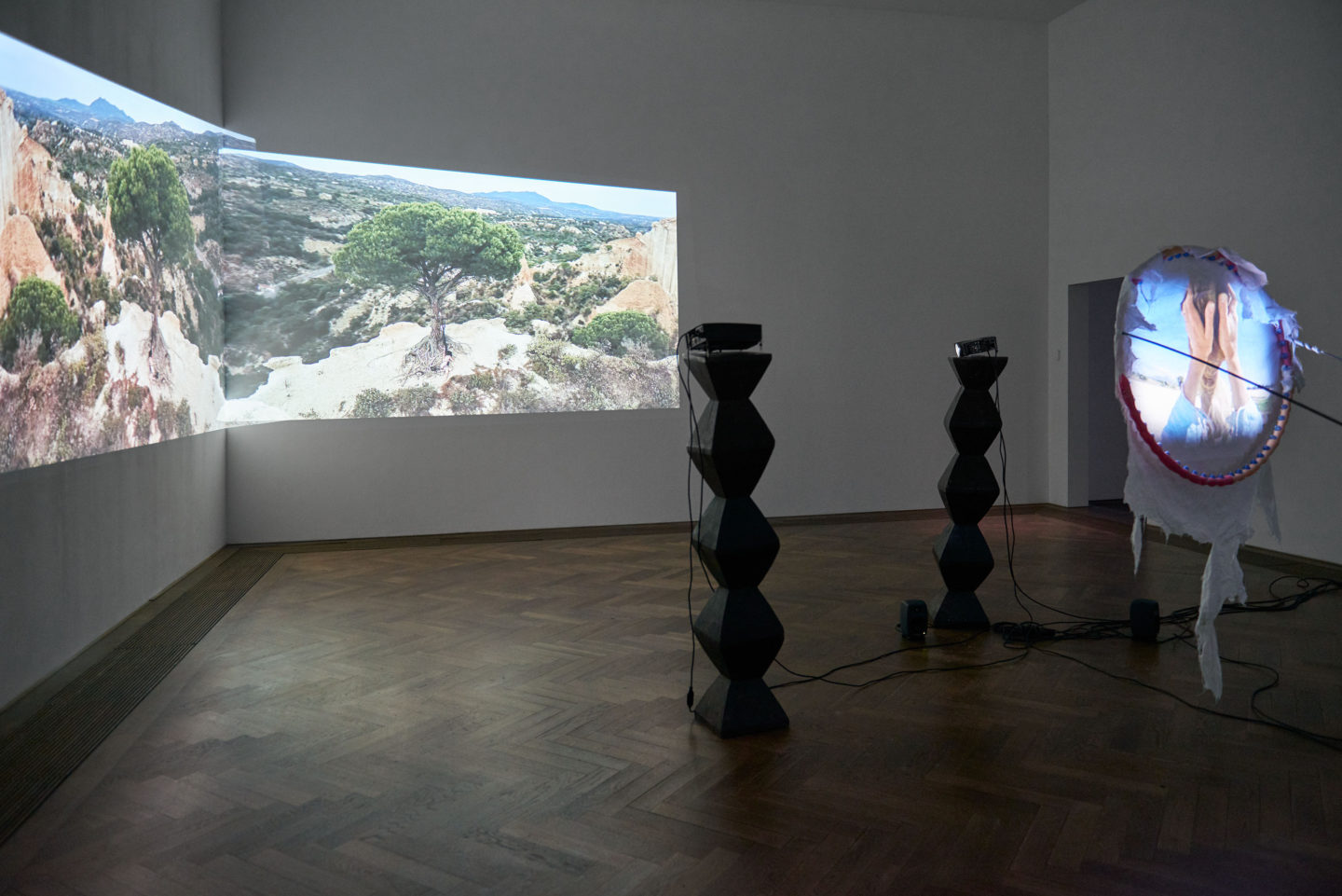"""Installation View Raphaela Vogel """"Ultranackt – view on Fruit of the Hoop, 2018"""" at Kunsthalle Basel, 2018 / Photo: Philipp Hänger / Courtesy: the artist and BQ, Berlin"""