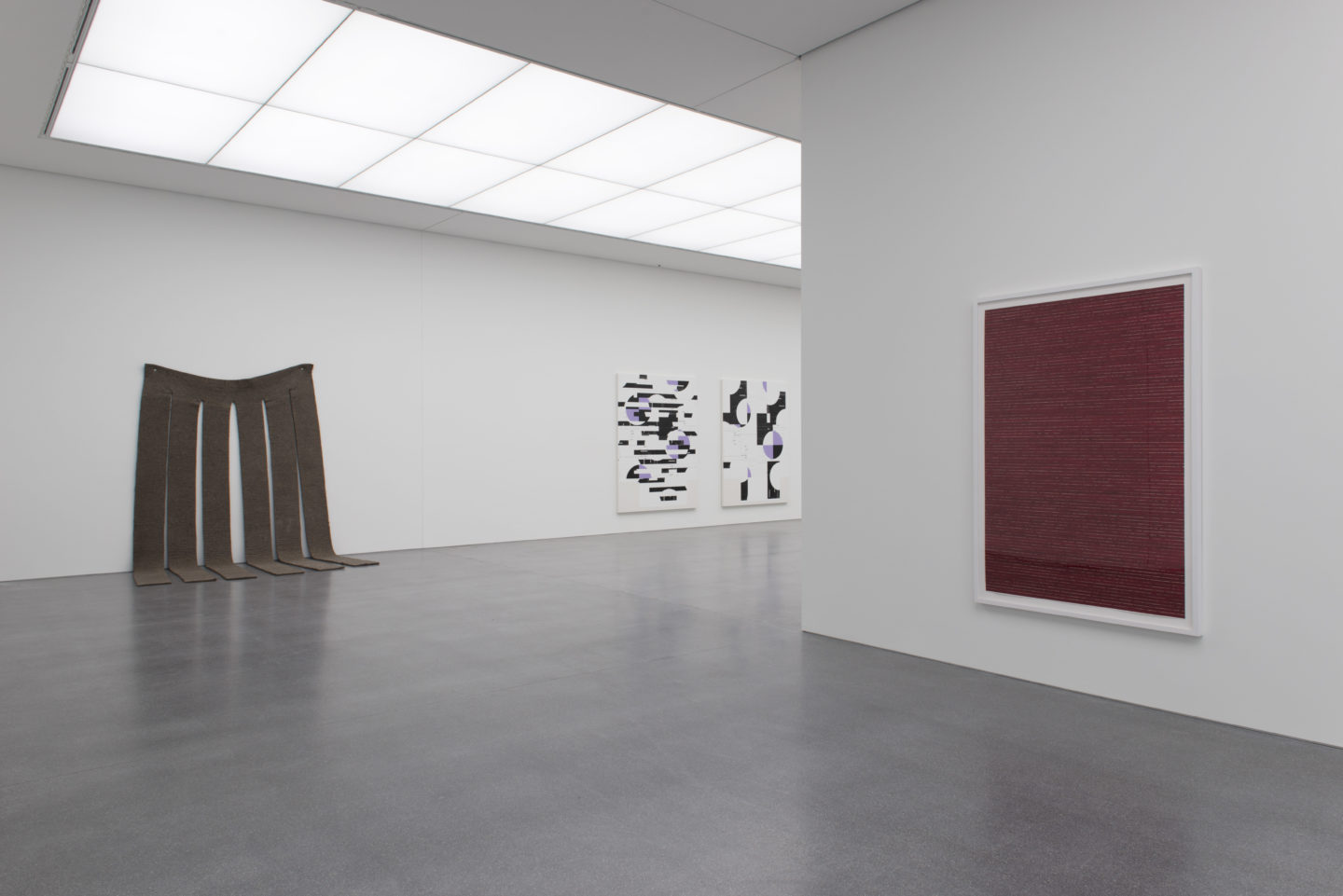 Exhibition View «ALWAYS DIFFERENT, ALWAYS THE SAME» with Morris, Michael Riedel, Corsin Fontana (f.l.t.r.) / Courtesy: the artists and Bündner Kunstmuseum, Chur