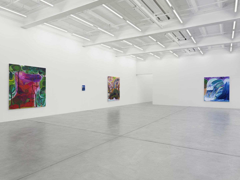 Exhibition View Shara Hughes «Don't Hold Your Breath» at Galerie Eva Presenhuber, Zurich / Photo: Stefan Altenburger / Courtesy the artist and Galerie Eva Presenhuber