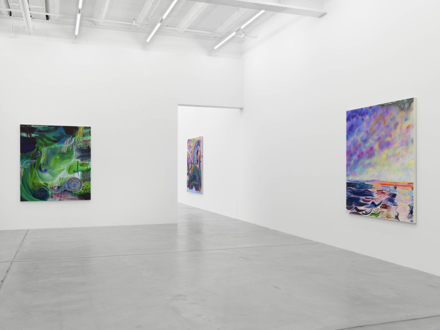 Exhibition View Shara Hughes «Don't Hold Your Breath» at Galerie Eva Presenhuber, Zurich / Photo: Stefan Altenburger / Courtesy the artist and Galerie Eva Presenhuber