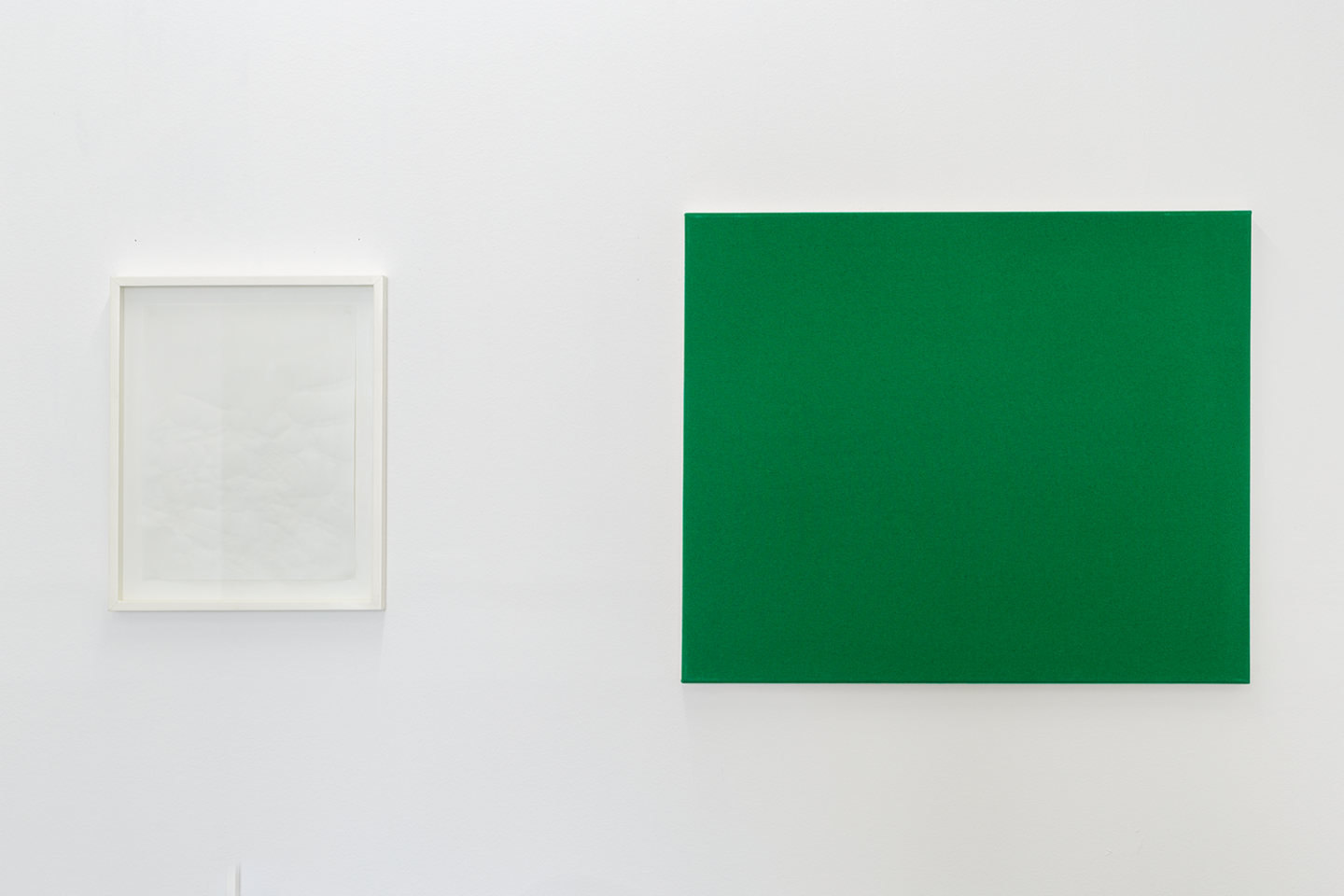 Installation View Groupshow «Double Take / view on Bruno Jakob, Philosophy Escaped (Invisible Painting), The Mutilated Meaning, 1999» at Last Tango Zurich, 2018 / Photography: Kilian Bannwart / Courtesy: the artists and Last Tango