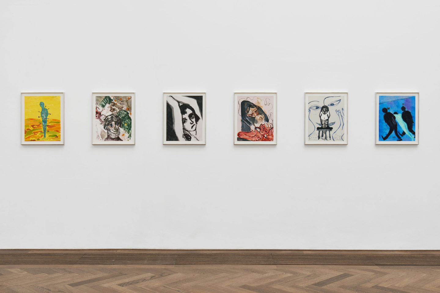 Installation View Sanya Kantarovsky «Disease of the Eyes / view on (f.l.t.r.) Sebastian, Kaput, Change of Heart, Wet Rag, Abuse, Removal III, all 2018» at Kunsthalle Basel, 2018. Photo: Philipp Hänger / Courtesy of the artist; Luhring Augustine, New York; Stuart Shave/Modern Art, London; and Tanya Leighton Gallery, Berlin