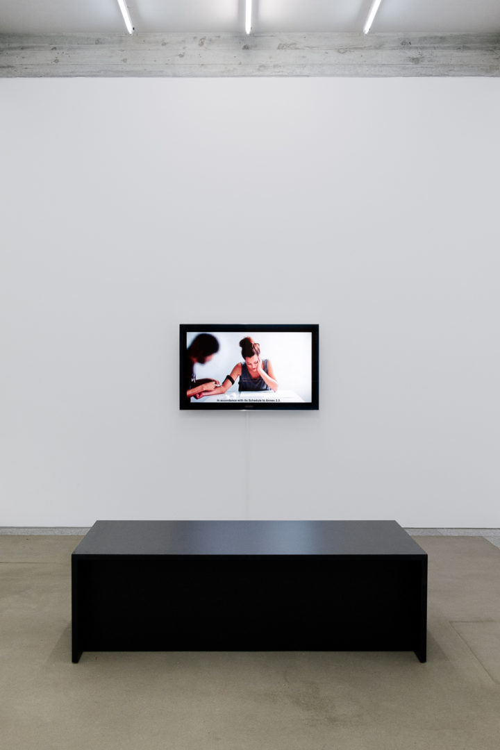 Exhibition View Groupshow «The Humans; view on Daniela Ortiz, FDTD, Forcible Drugging to Deport / Sedación Forzada para Deportar, 2012» / Photo: Sebastian Stalder / Courtesy: the artists
