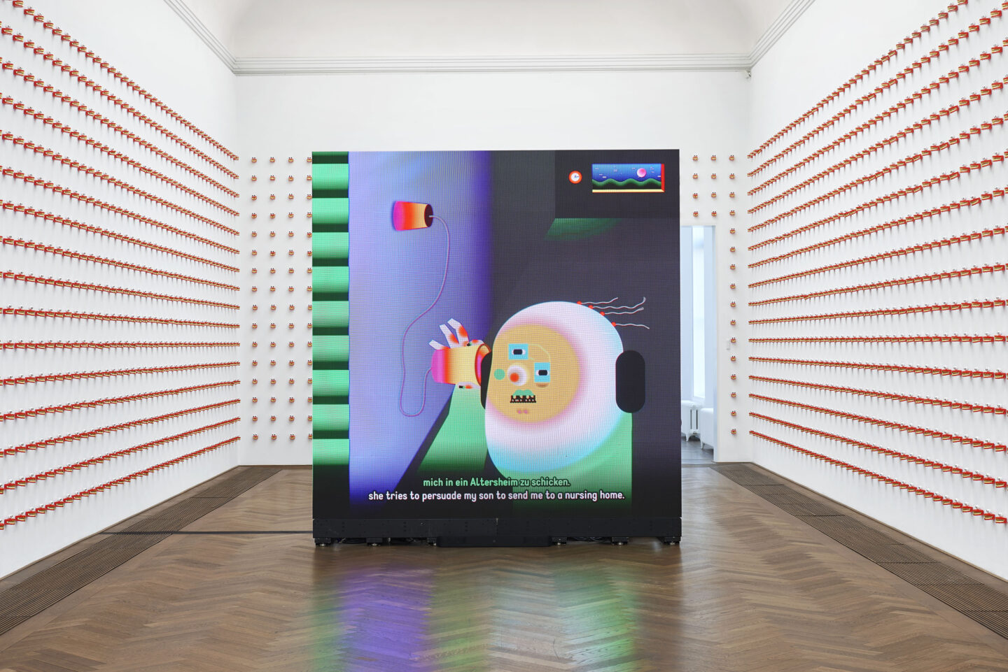 Exhibition View Wong Ping Soloshow «Golden Shower / view on Dear, can I give you a hand?, 2018» at Kunsthalle Basel, 2019 / Photo: Philipp Hänger / Kunsthalle Basel / Courtesy: Courtesy of the artist, Edouard Malingue Gallery, Hong Kong / Shanghai, and Solomon R. Guggenheim Museum, New York