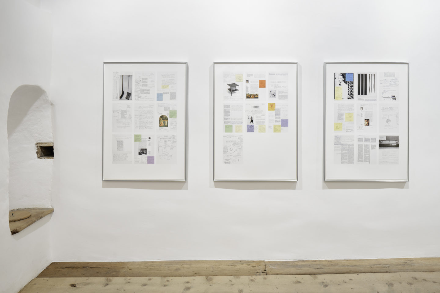 Installation View Bethan Huws «Soloshow / Research Notes 2007-2014, 2016» at Galerie Tschudi, Zuoz / Photo: Ralph Feiner / Courtesy: the artist and Galerie Tschudi, Zuoz