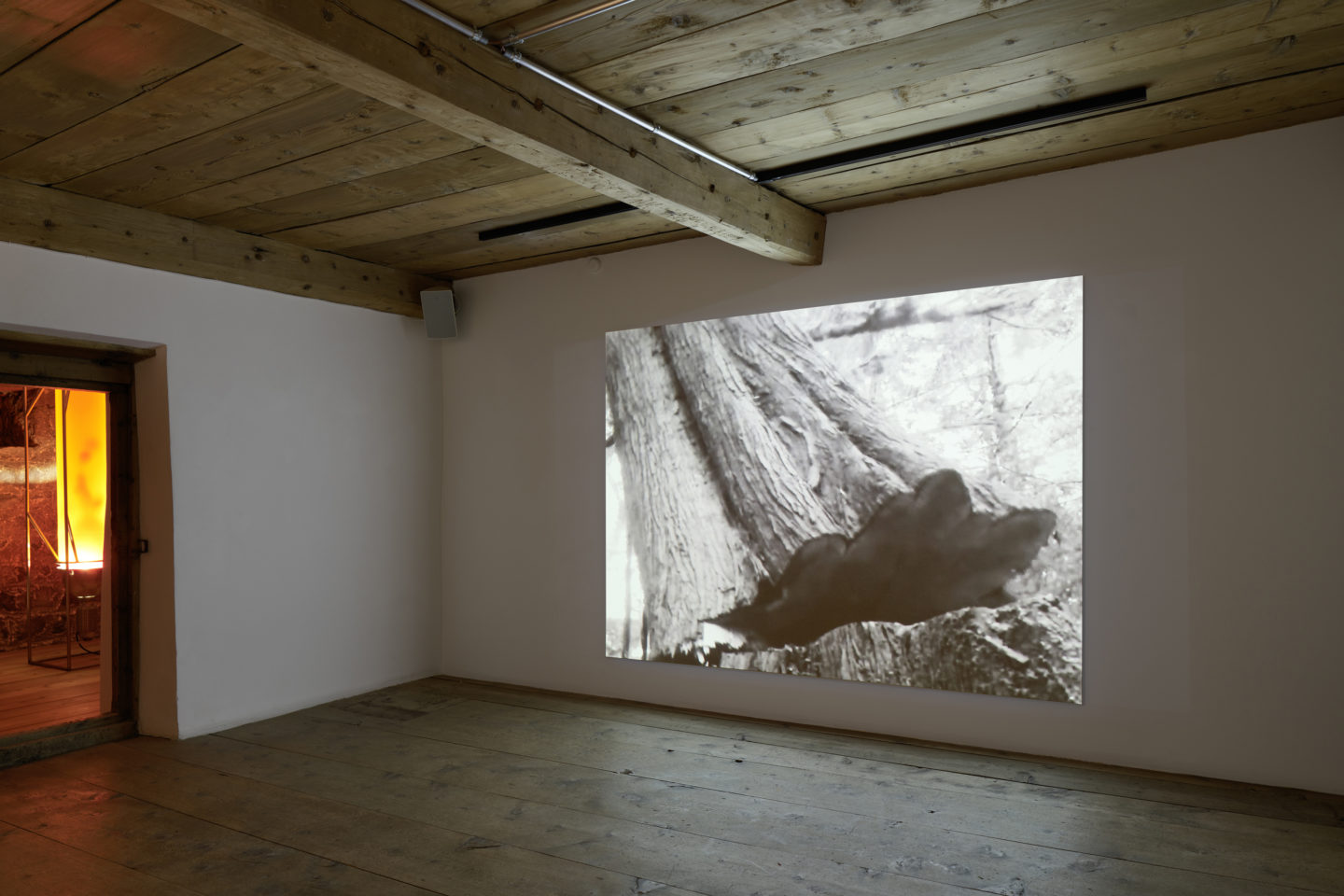 Installation View Julian Charrière Soloshow «Ever Since We Crawled Out, 2018» at Galerie Tschudi, Zuoz / Photo: Ralph Feiner / Courtesy: the artist and Galerie Tschudi, Zuoz