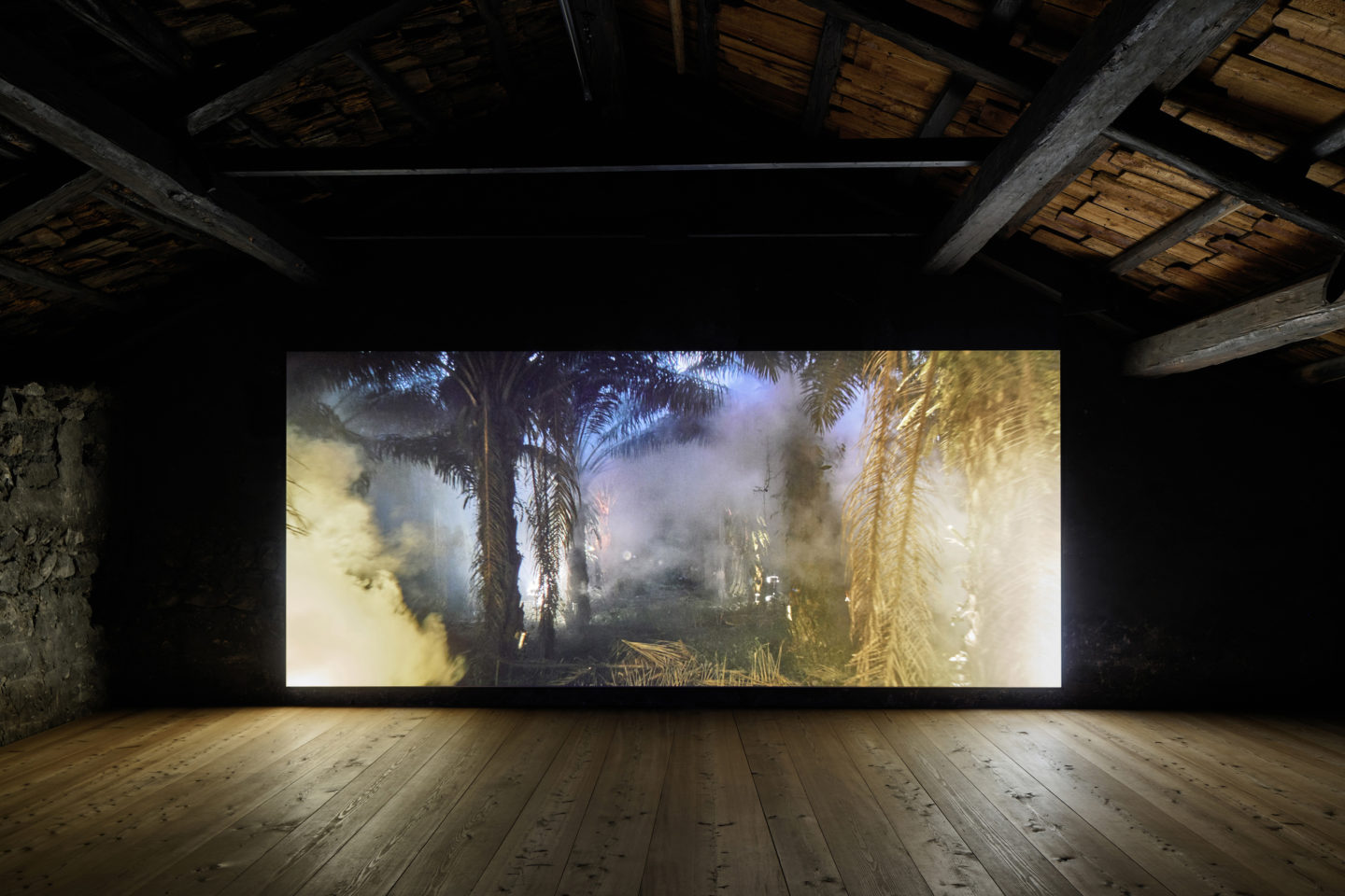 Installation View Julian Charrière Soloshow «Ever Since We Crawled Out / view on An Invitaton to Disappear, 2018» at Galerie Tschudi, Zuoz / Photo: Ralph Feiner / Courtesy: the artist and Galerie Tschudi, Zuoz