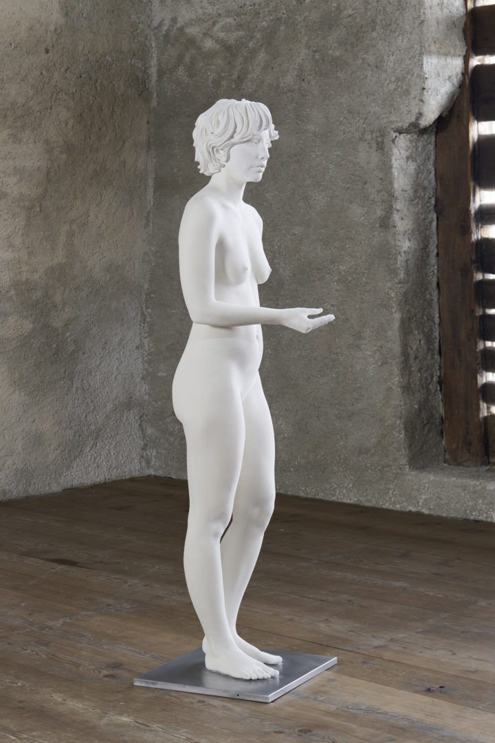 Installation View Bethan Huws «Soloshow / view on Standing Nude April 1912, 2018» at Galerie Tschudi, Zuoz / Photo: Ralph Feiner / Courtesy: the artist and Galerie Tschudi, Zuoz
