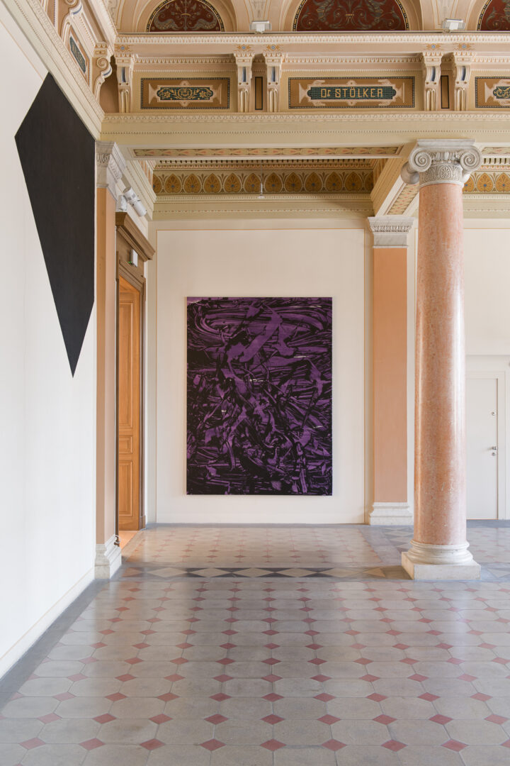 Installation View Judy Millar Soloshow «The Future and the Past Perfect ; view on Ferryman (purple), 2011» at Kunstmuseum St. Gallen, 2019 / Photo: Sebastian Stalder
