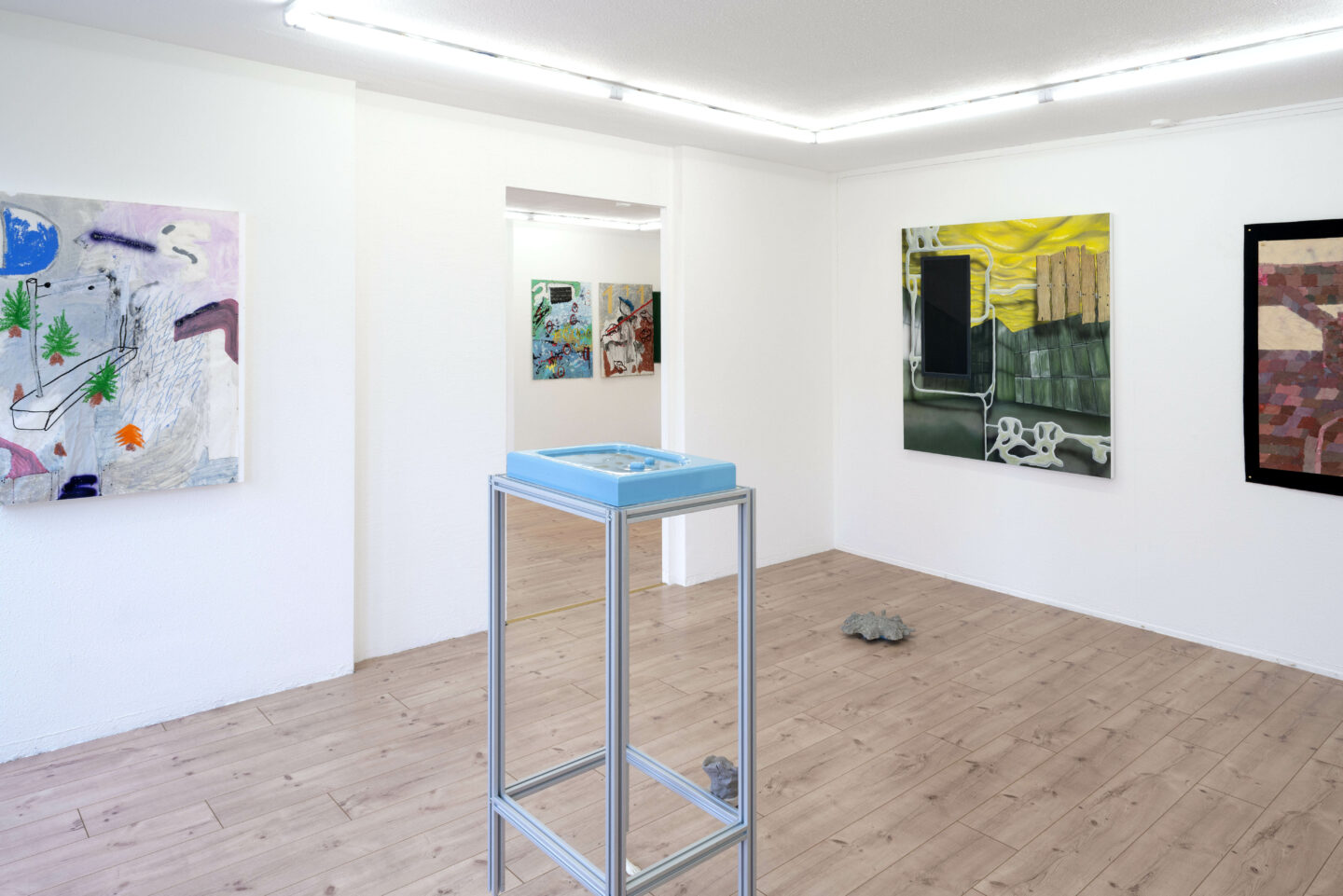 Exhibition View Ruben Stettler and Kevin Aeschbacher Groupshow «Module für Ordnung» at HAMLET, Oerlikon, Zurich, 2019 / Photo: Flavio Karrer / Courtesy: the artist and HAMLET