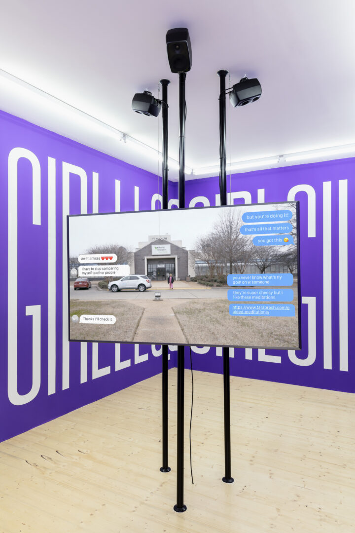 Exhibition View Groupshow «On Fire – Vulnerable Footage ; view on Martine Syms, Incense Sweaters & Ice (2017)» at SALTS, Birsefelden, Basel, 2019 / Photo: Gunnar Meier / Courtesy: the artist, Sadie Coles HQ, Basler Dokumentartage and SALTS