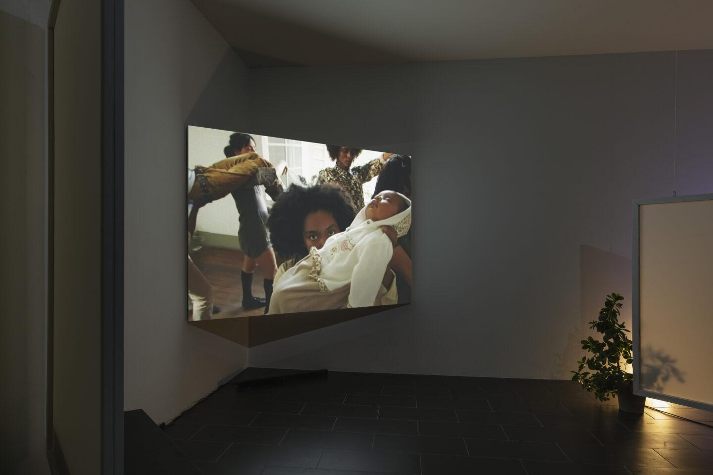 Exhibition View Groupshow «On Fire – Vulnerable Footage ; view on Tobias Madison, O Vermelho do Meio-Dia (2018)» at SALTS, Birsefelden, Basel, 2019 / Photo: Gunnar Meier / Courtesy: the artist, Freedman Fitzpatrick, Basler Dokumentartage and SALTS