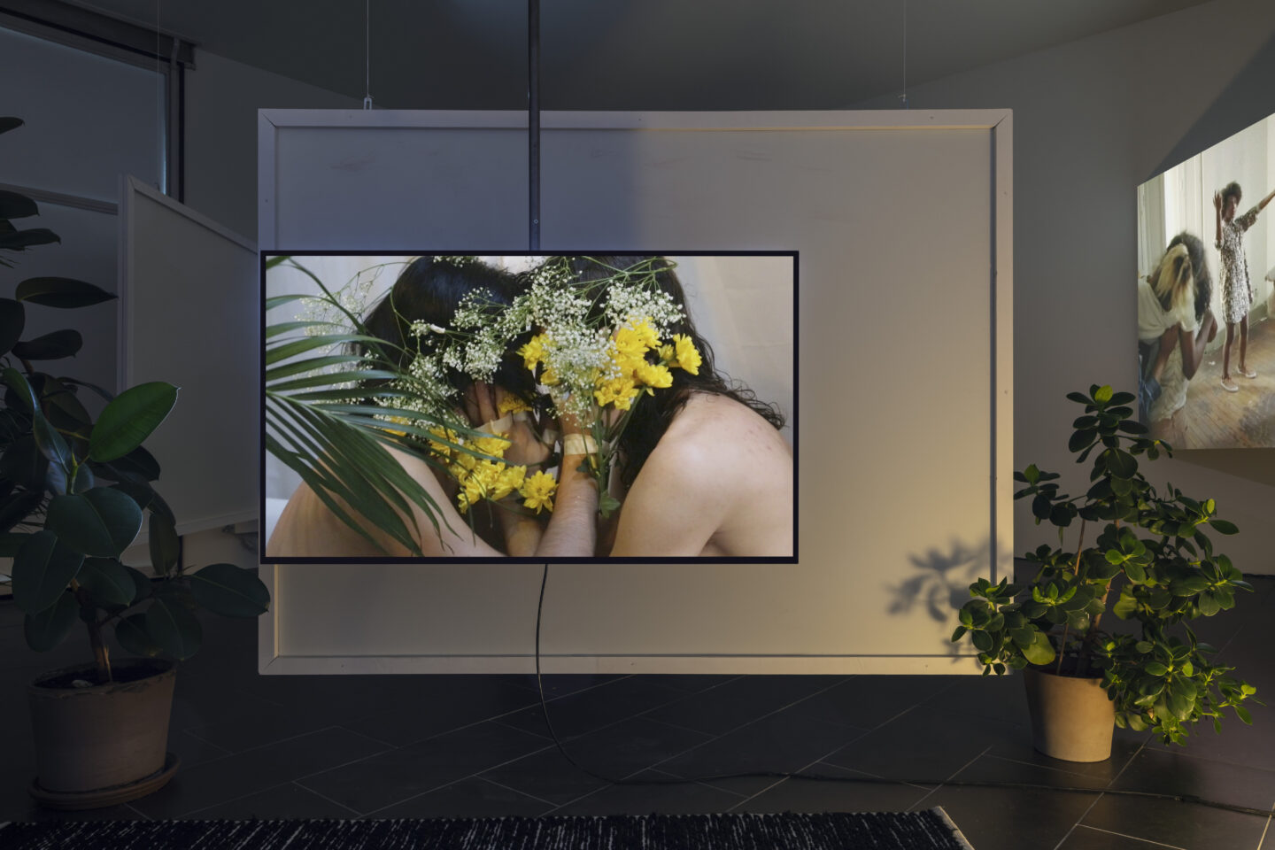 Exhibition View Groupshow «On Fire – Vulnerable Footage ; view on Melanie Bonajo, Night Soil - Economy of Love (2015)» at SALTS, Birsefelden, Basel, 2019 / Photo: Gunnar Meier / Courtesy: the artist, AKINCI, Basler Dokumentartage and SALTS