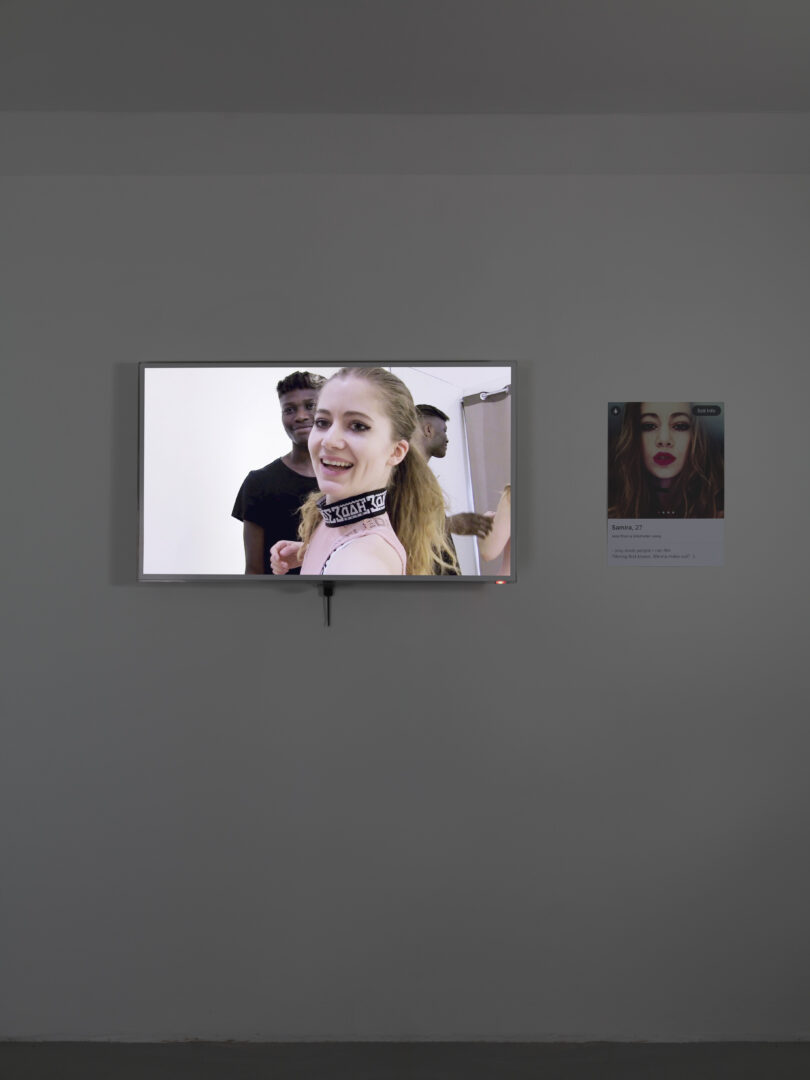 Exhibition View Groupshow «On Fire – Vulnerable Footage ; view on Samira Elagoz, The Young And The Willing (2018)» at SALTS, Birsefelden, Basel, 2019 / Photo: Gunnar Meier / Courtesy: the artist, Basler Dokumentartage and SALTS
