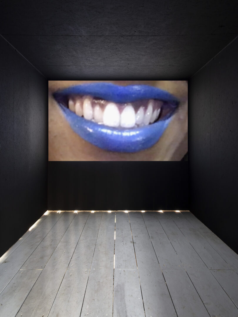 Exhibition View Groupshow «On Fire – Vulnerable Footage ; view on Juliana Huxtable, A Split During Laughter at the Rally (2017)» at SALTS, Birsefelden, Basel, 2019 / Photo: Gunnar Meier / Courtesy: the artist, Reena Spaulings Fine Art, Basler Dokumentartage and SALTS