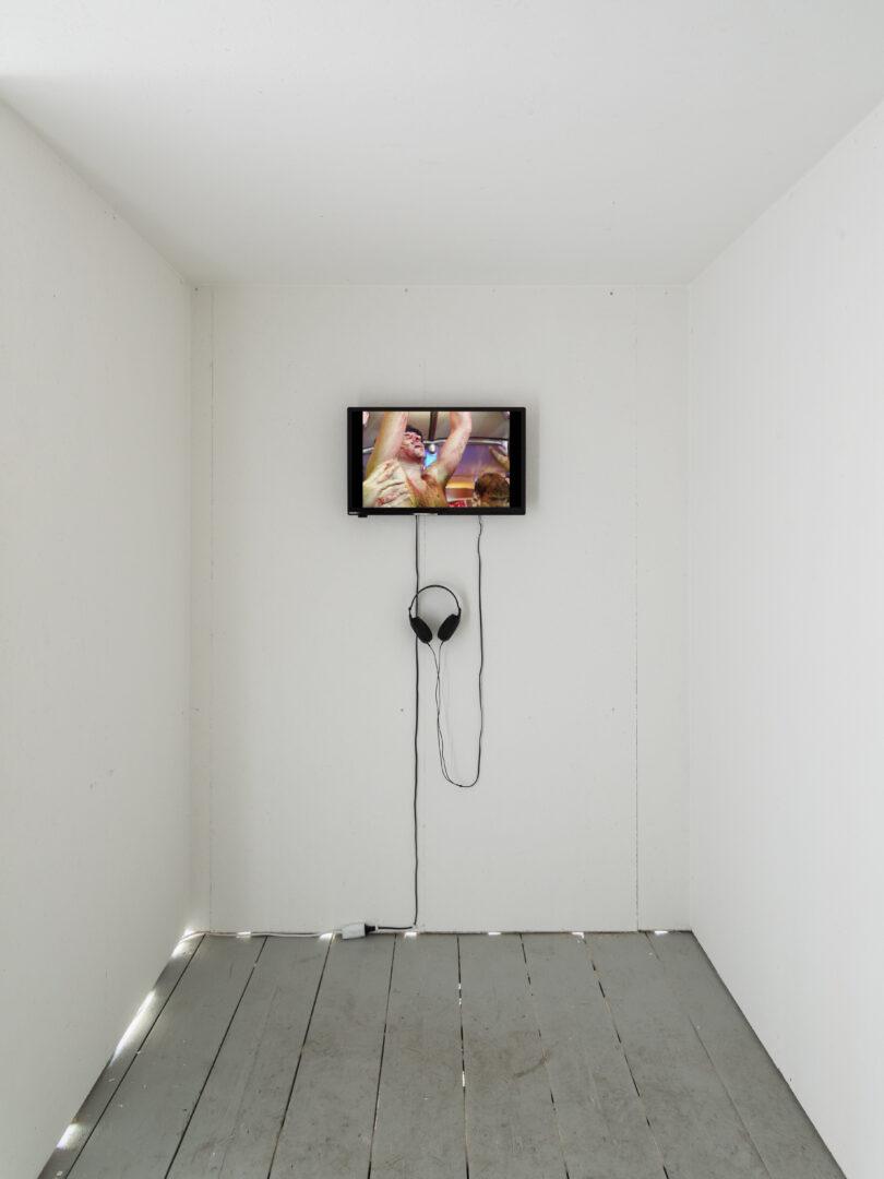 Exhibition View Groupshow «On Fire – Vulnerable Footage ; view on Christoph Schlingensief, U3000 (2000/2001)» at SALTS, Birsefelden, Basel, 2019 / Photo: Gunnar Meier / Courtesy: Filmgalerie 451, Estate Christoph Schlingensief, Basler Dokumentartage and SALTS