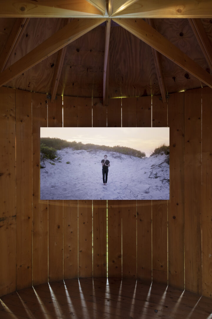 Exhibition View Groupshow «On Fire – Vulnerable Footage ; view on Sasha Wortzel, We Have Always Been on Fire (2018)» at SALTS, Birsefelden, Basel, 2019 / Photo: Gunnar Meier / Courtesy: the artist, Basler Dokumentartage and SALTS