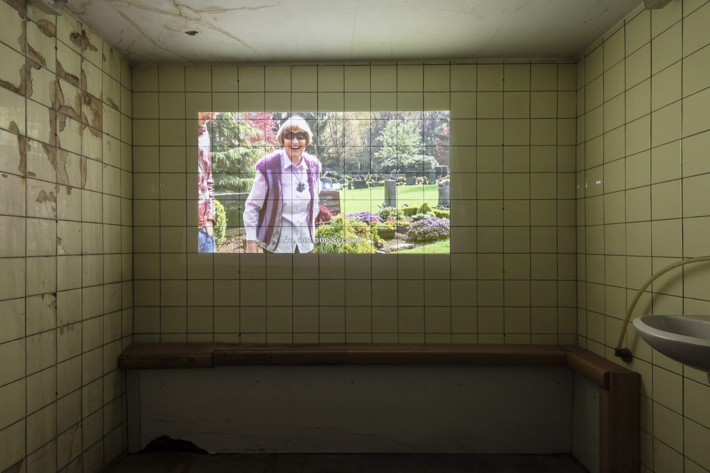 Exhibition View Groupshow «On Fire – Vulnerable Footage ; view on Markus&Markus, Gespenster (2019)» at SALTS, Birsefelden, Basel, 2019 / Photo: Gunnar Meier / Courtesy: the artist, Basler Dokumentartage and SALTS