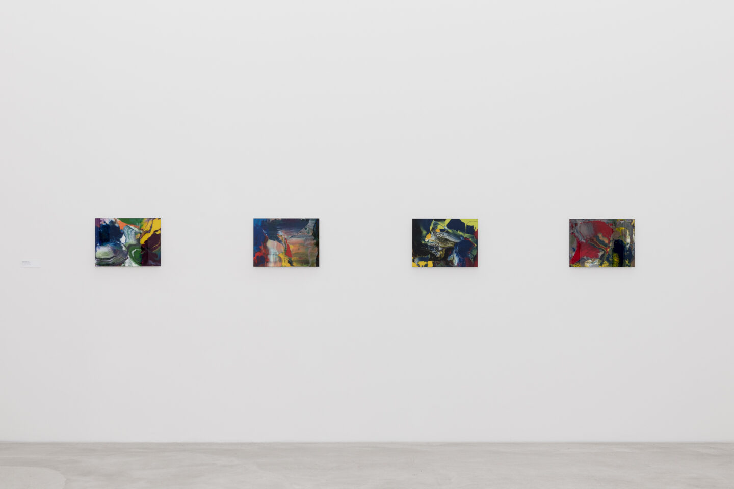 Exhibition View Groupshow «Frozen Gesture ; view on Gerhard Richter, Bagdad (914-9), 2010, Bagdad (914-12), 2010, Bagdad (914-13), 2010, Bagdad (914-14), (Courtesy: Gerhard Richter, 2019)» at Kunstmuseum Winterthur, 2019 / Photo: Sebastian Stadler