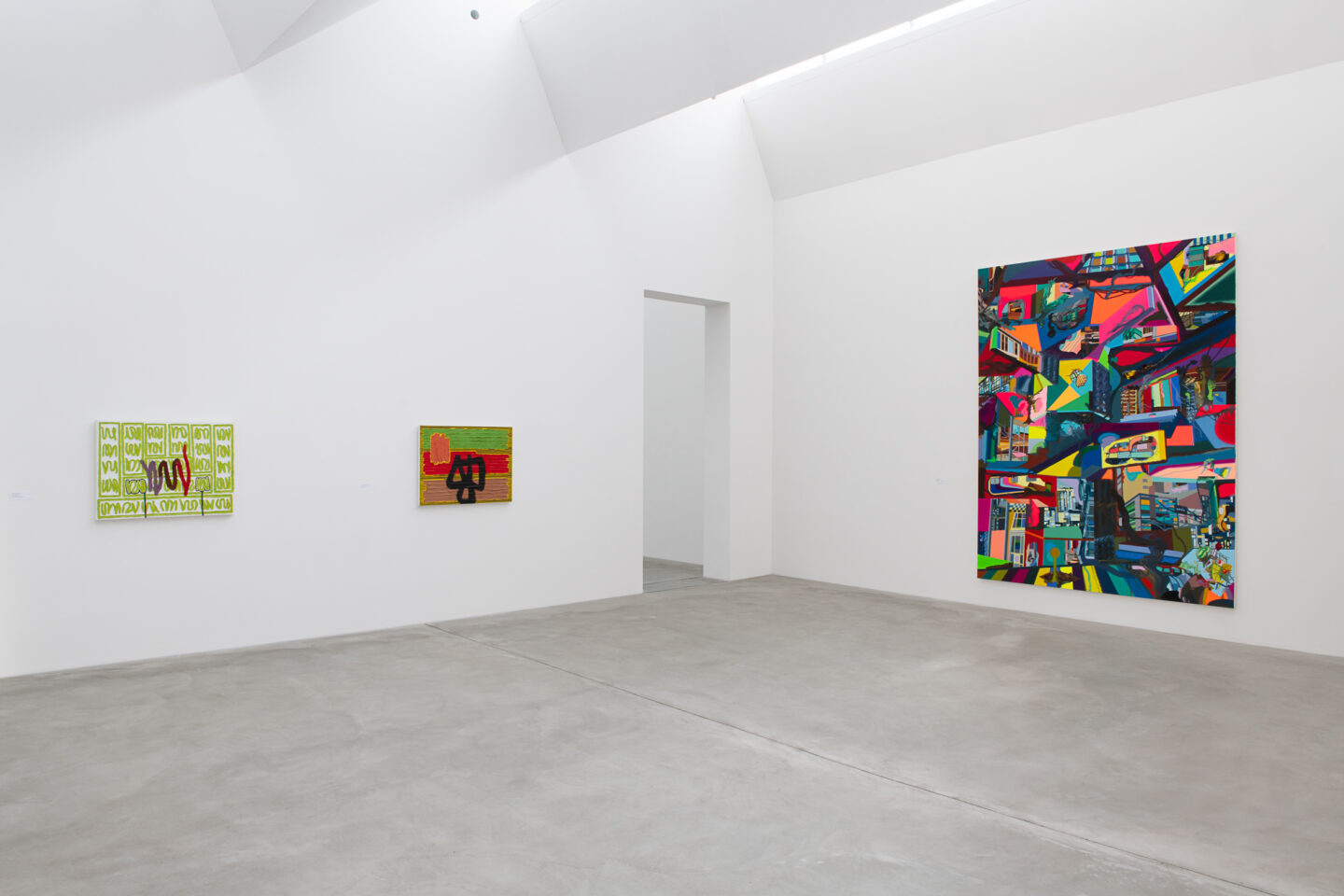 Exhibition View Groupshow «Frozen Gesture ; view on Jonathan Lasker, How to Be Unique, 1993 (Courtesy: the artist), The Banner of Daily Existence, 1993 (Courtesy: the artist) and Wall Mall, 2018 (Courtesy the artist and Meyer Riegger, Berlin/Karlsruhe)» at Kunstmuseum Winterthur, 2019 / Photo: Sebastian Stadler
