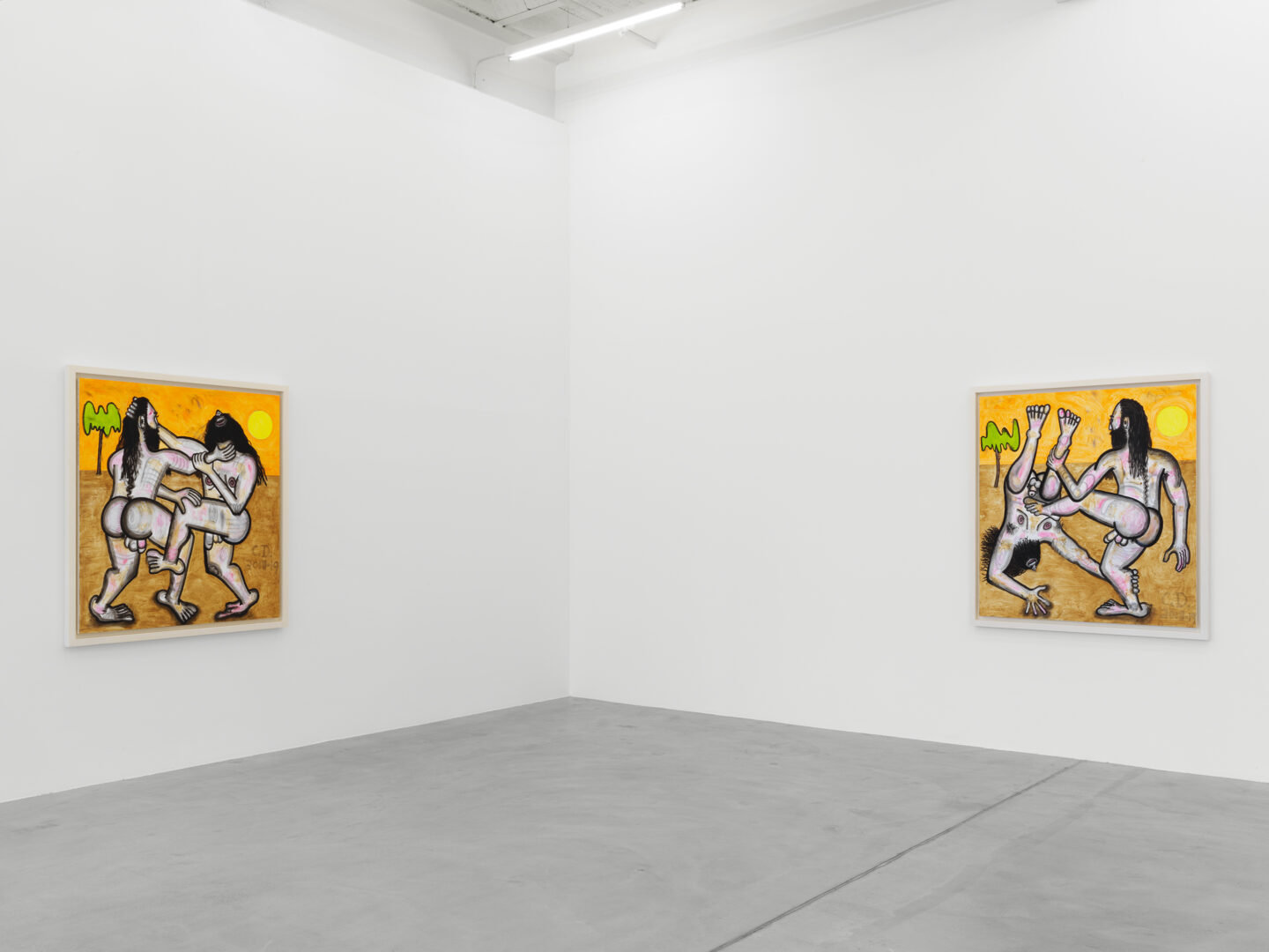 Exhibition View Carroll Dunham Soloshow «Recent Paintings» at Galerie Eva Presenhuber, Zurich, 2019 / Photo: Stefan Altenburger / © Carroll Dunham / Courtesy the artist and Galerie Eva Presenhuber, Zurich / New York