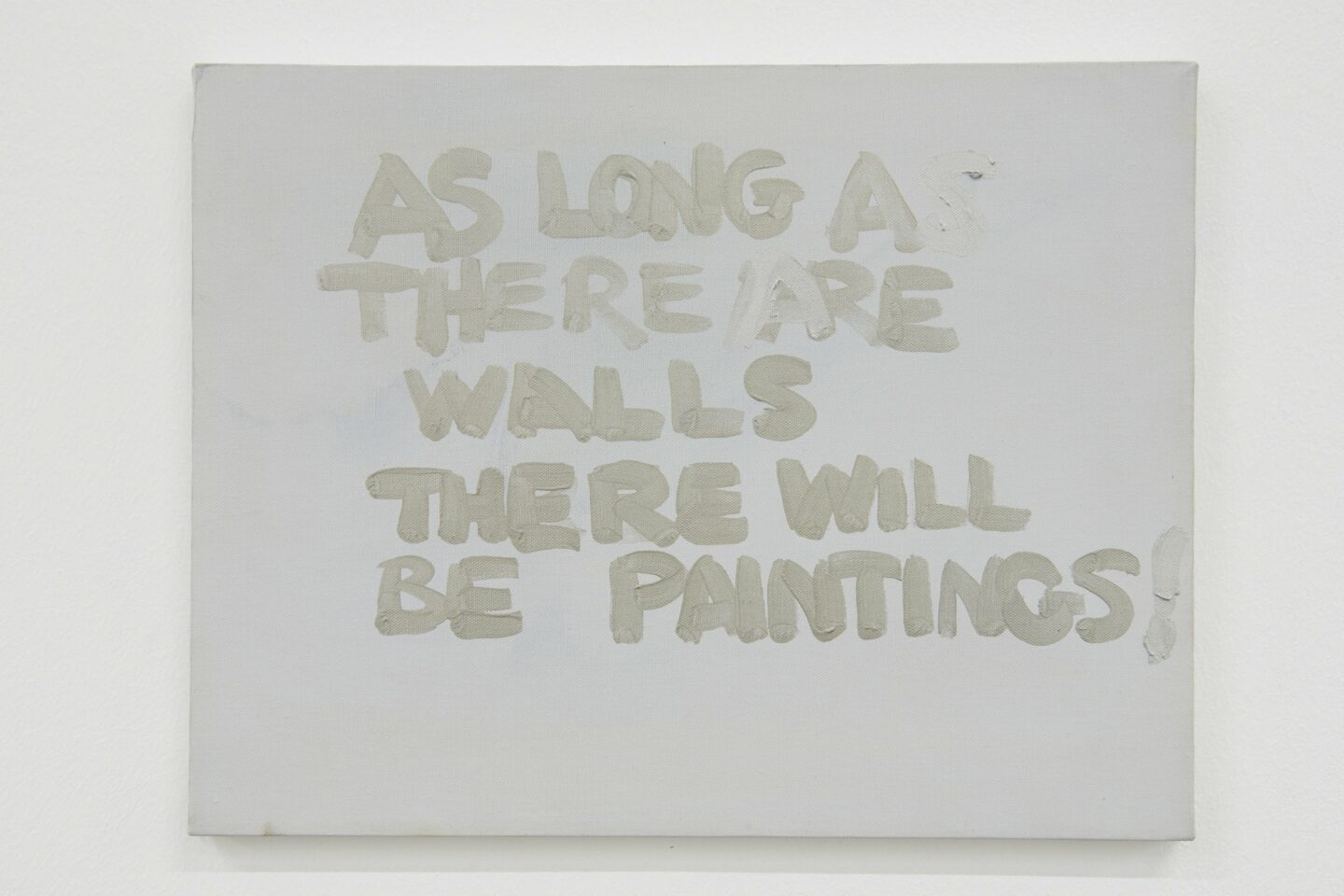 Exhibition View Gene Beery Retrospective «view on As Long As There Are Walls There Will Be Paintings, 1986» at Fri-Art Kunsthale, Fribourg / Photo: Guillaume Baeriswyl / Courtesy: the artist and LeWitt Collection, Chester, Conneticut, USA