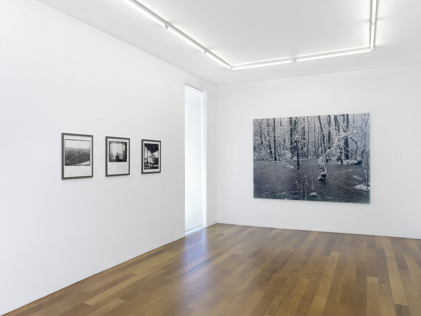 Exhibition View Groupshow by Albert Baronian «Le Choix d'Albert; view on Marc Trivier, L'enfant au loup, 1991; Sils Maria, 1994; Abattoir, 1980 -1990 and Eric Poitevin, Neige, 2004» at Xippas, Geneva / Photo: Annik Wetter