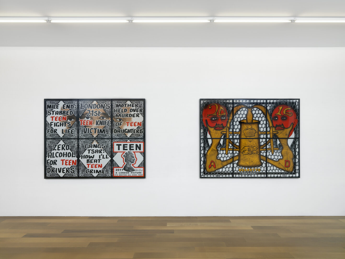 Exhibition View Groupshow by Albert Baronian «Le Choix d'Albert; view on Gilbert & George, TEEN, 2011 and Beardtyg, 2016» at Xippas, Geneva / Photo: Annik Wetter