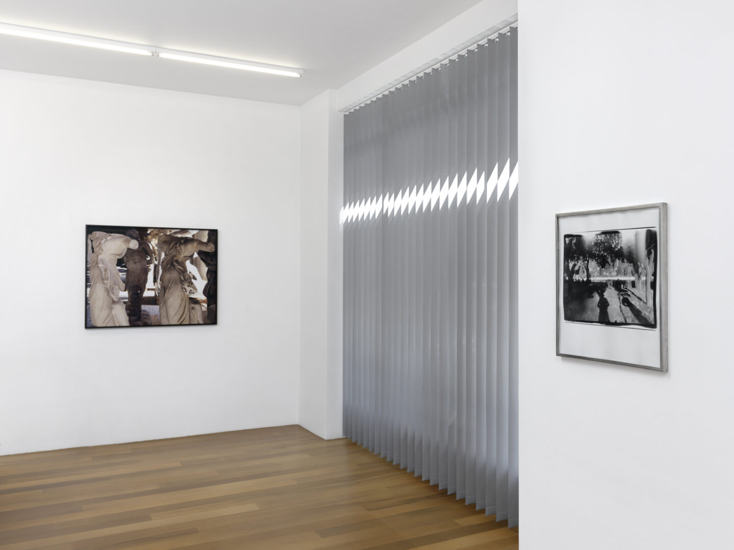 Exhibition View Groupshow by Albert Baronian «Le Choix d'Albert; view on Marie José Burki, Sans titre (gypso I), 2019 and Marc Trivier, Paradis perdu, 1980 -1990» at Xippas, Geneva / Photo: Annik Wetter