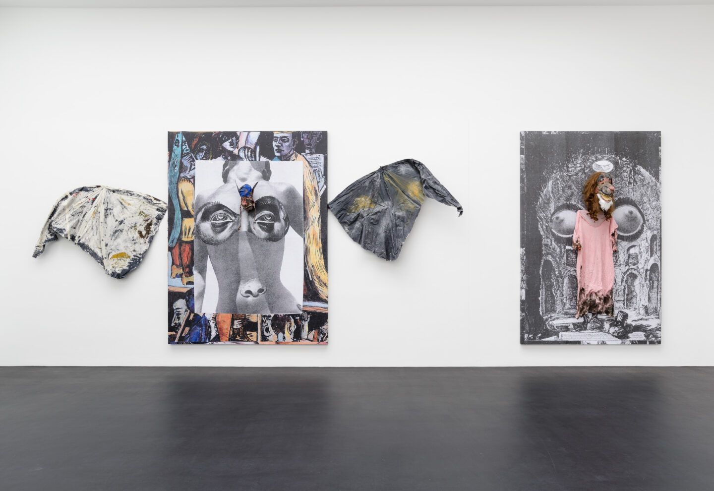 Exhibition View Monster Chetwynd Soloshow «Either This Coat's Inhabited or I'm Inhibited; Where is God (the Bat), 2019 and Splinter, 2019» at Galerie Gregor Staiger / Courtesy: the artist and Galerie Gregor Staiger