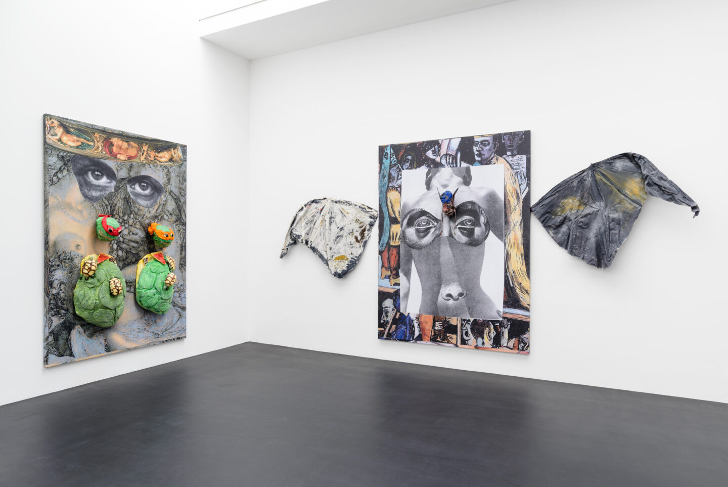 Exhibition View Monster Chetwynd Soloshow «Either This Coat's Inhabited or I'm Inhibited; Ninja Turtles, 2019 and Where is God (the Bat), 2019» at Galerie Gregor Staiger / Courtesy: the artist and Galerie Gregor Staiger
