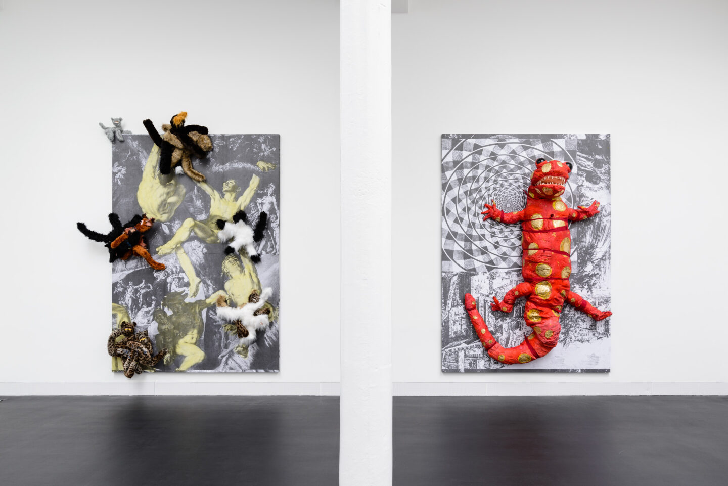 Exhibition View Monster Chetwynd Soloshow «Either This Coat's Inhabited or I'm Inhibited; view on Cat Fight (The Deluge), 2019 and Salamander, 2019» at Galerie Gregor Staiger / Courtesy: the artist and Galerie Gregor Staiger
