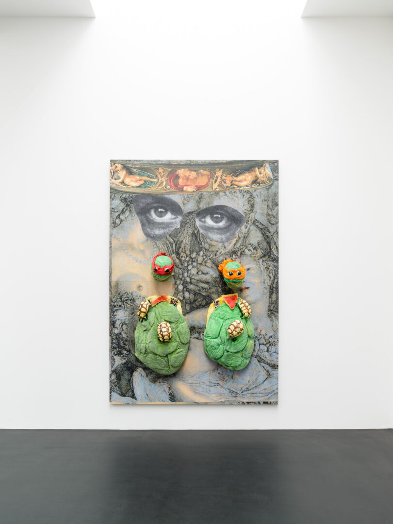 Exhibition View Monster Chetwynd Soloshow «Either This Coat's Inhabited or I'm Inhibited; view on Ninja Turtles, 2019» at Galerie Gregor Staiger / Courtesy: the artist and Galerie Gregor Staiger