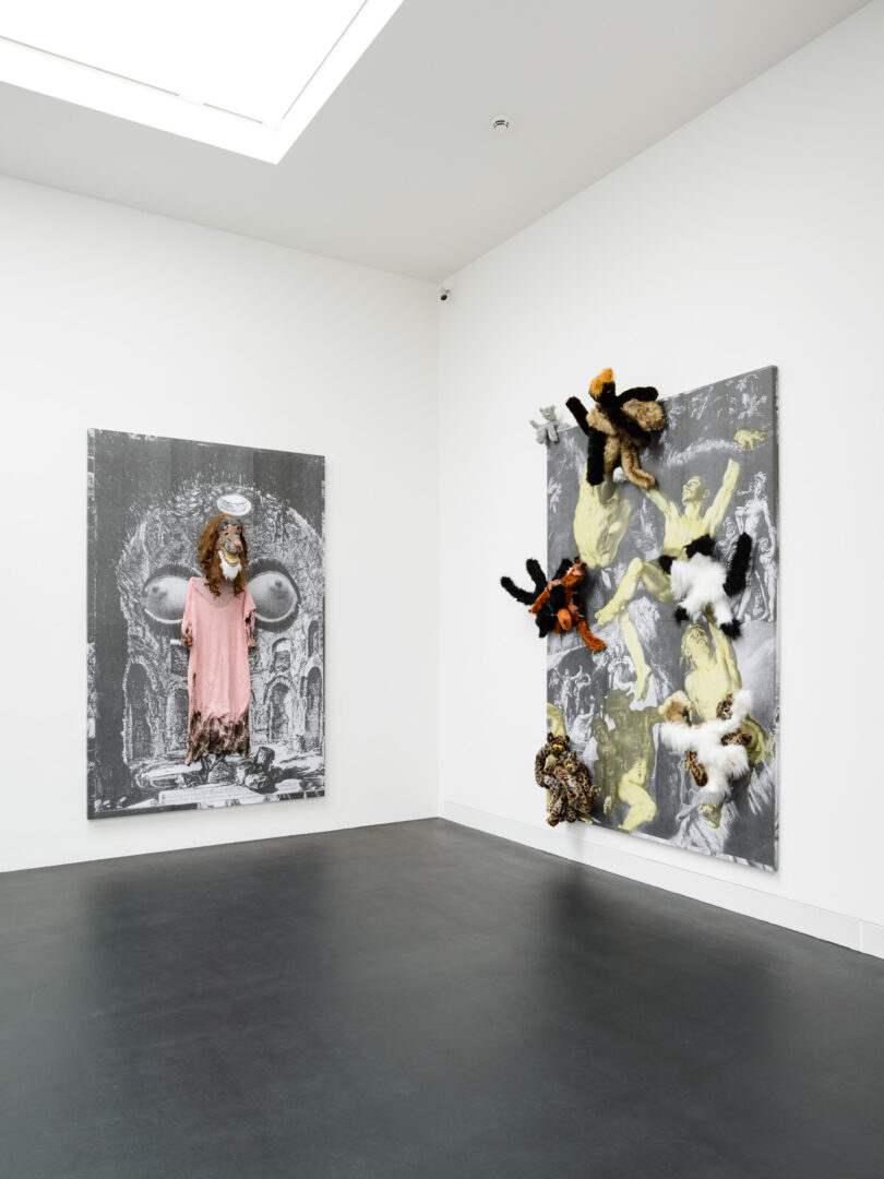 Exhibition View Monster Chetwynd Soloshow «Either This Coat's Inhabited or I'm Inhibited; view on Splinter, 2019 and Cat Fight (The Deluge), 2019» at Galerie Gregor Staiger / Courtesy: the artist and Galerie Gregor Staiger