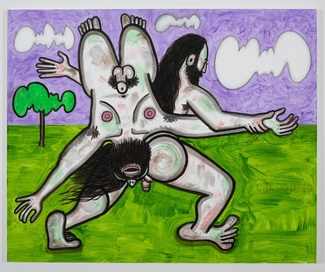 Exhibition View Carroll Dunham Soloshow «Recent Paintings; view on Clouds (2), 2018-19» at Galerie Eva Presenhuber, Zurich, 2019 / Photo: Stefan Altenburger / © Carroll Dunham / Courtesy the artist and Galerie Eva Presenhuber, Zurich / New York
