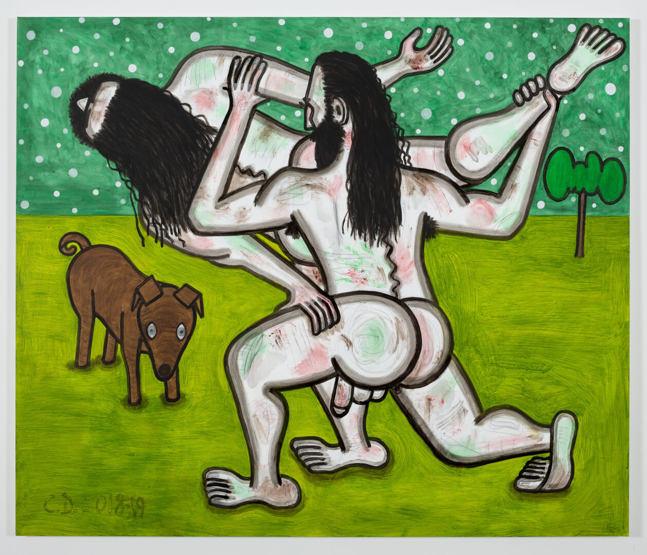 Exhibition View Carroll Dunham Soloshow «Recent Paintings; view on Green Evening (3), 2018-19» at Galerie Eva Presenhuber, Zurich, 2019 / Photo: Stefan Altenburger / © Carroll Dunham / Courtesy the artist and Galerie Eva Presenhuber, Zurich / New York