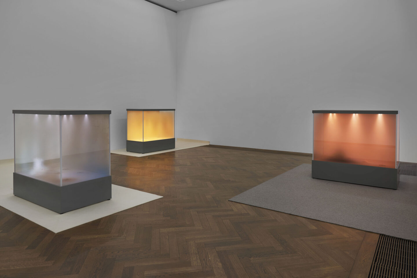 Exhibition View Dora Budor Soloshow «I am Gong; view on Origin III (Snow Storm), Origin I (A Stag Drinking), Origin II (Burning of the Houses), all 2019» at Kunsthalle Basel / Photo: Philipp Hänger / Courtesy: the artist