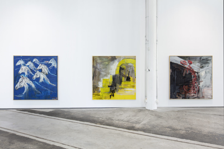 Exhibition View Albert Oehlen Soloshow «unfinished» at Lokremise, St. Gallen by Kunstmuseum St. Gallen / Photo: Stefan Rohner / Courtesy: the artist