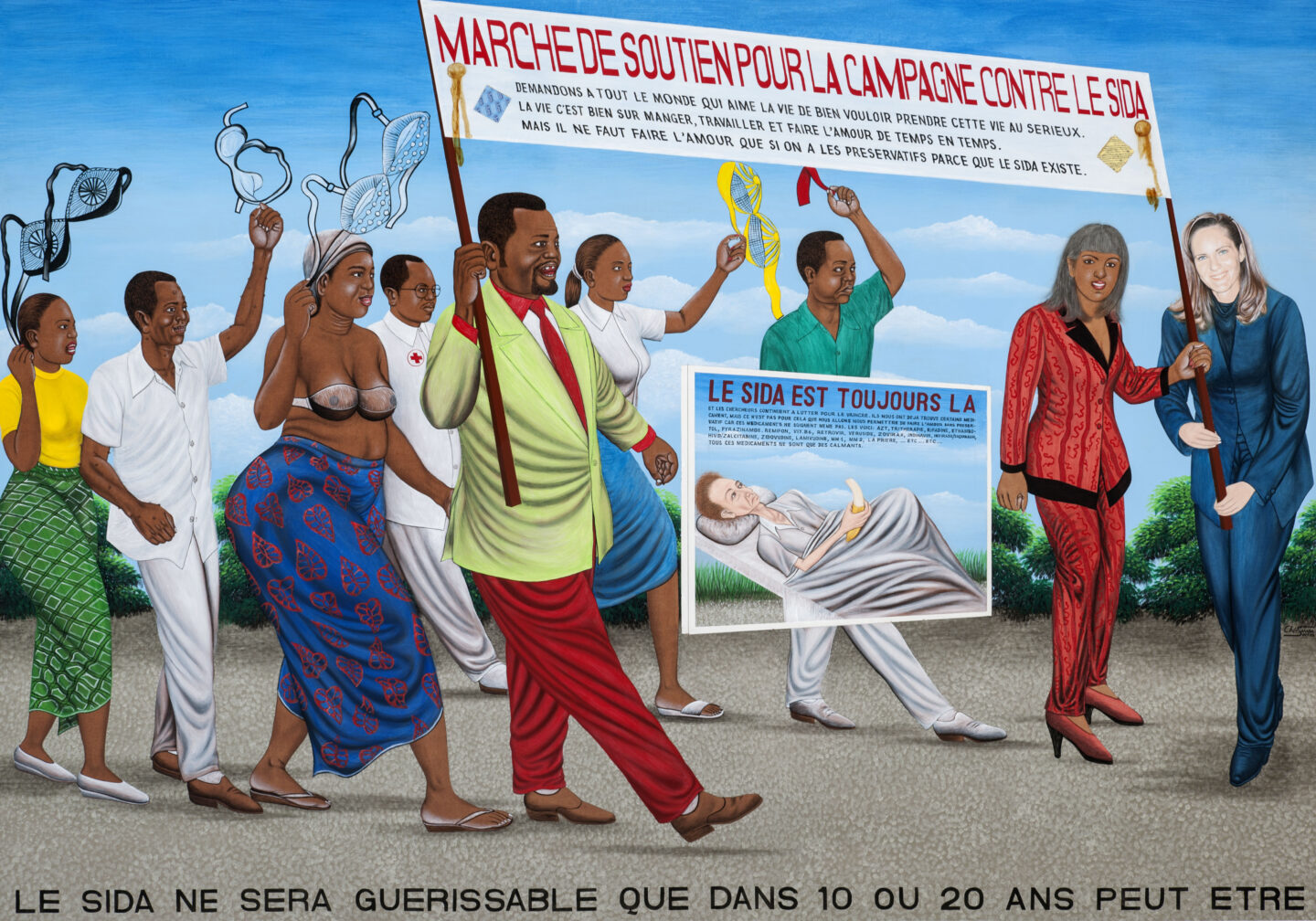 Exhibition View Groupshow «United by AIDS; view on Chéri Samba, La Marche de soutien contre le SIDA, 2006, Collection Lucien Bilinelli, Brussels / Milan» at Migros Museum, Zurich, 2019