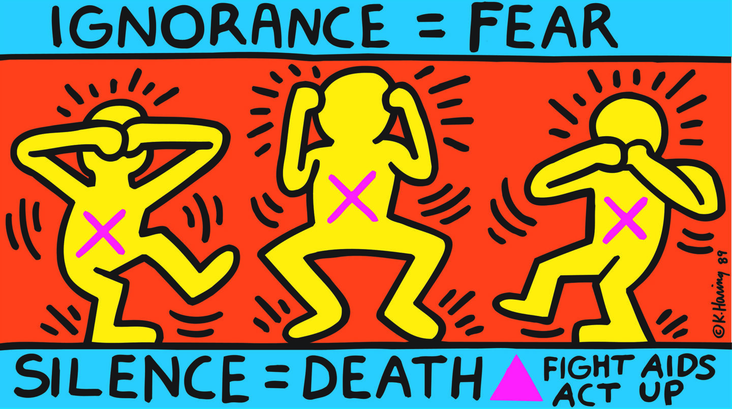 Exhibition View Groupshow «United by AIDS; view on Keith Haring, Ignorance = Fear, Silence = Death, 1989, Courtesy Keith Haring Foundation, © Keith Haring Foundation» at Migros Museum, Zurich, 2019
