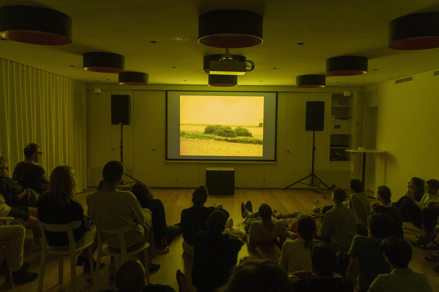 Exhibition View Groupshow «Modern Nature – an hommage to Derek Jarman; view on Simon Fisher Turner performing live score on Derek Jarman's Blue and a selection of super-8 movies, 2019» at La Becque, La Tour-de-Peilz, 2019 / Photo: © Julien Gremaud / Courtesy: the artist and La Becque©