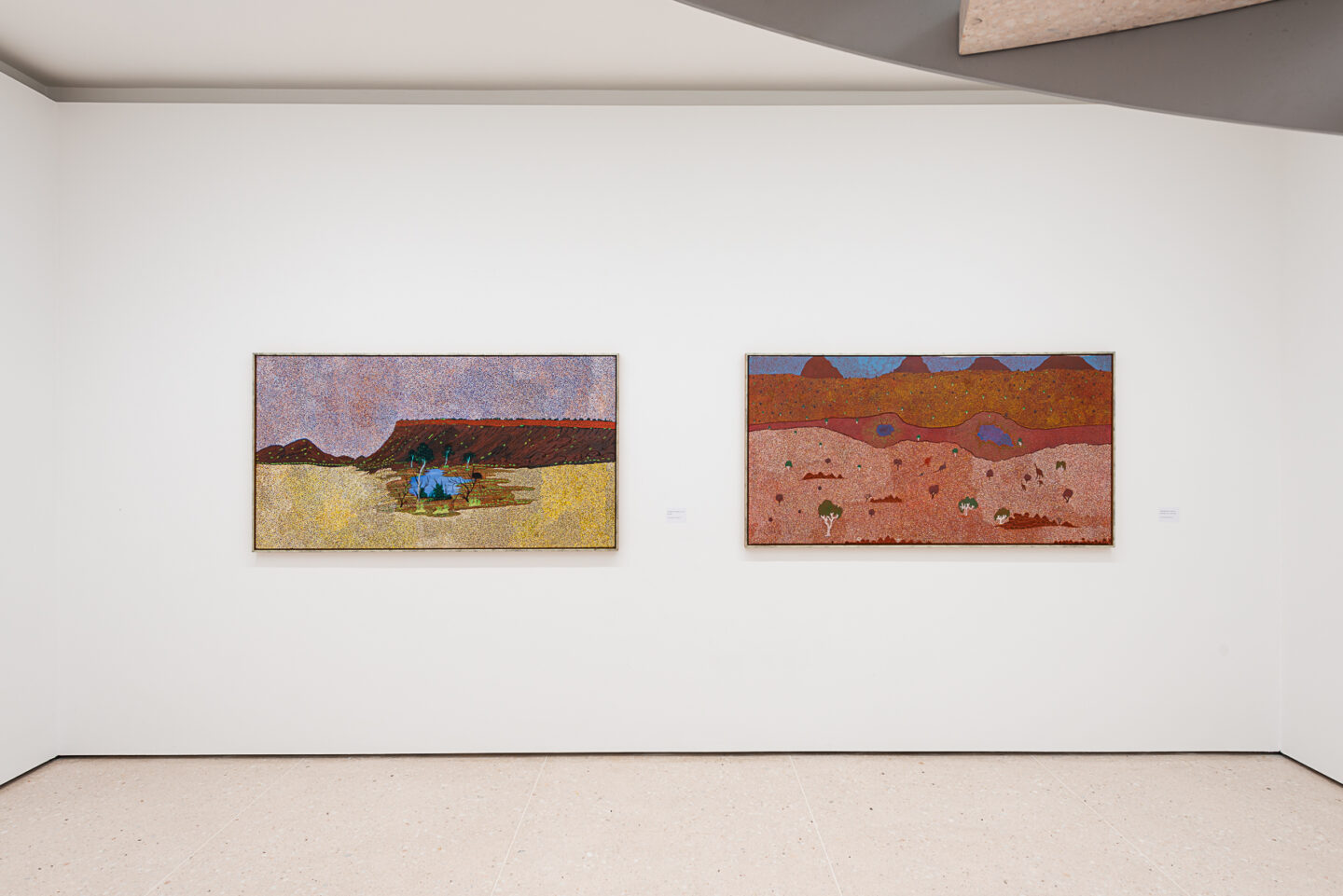 Exhibition View Groupshow «My Mothers Country; view on Angeline Luck Apetyarr, Kelo, 2006; Janie Nabanunga, Watering Holes in an Arid Region, 2004» at Kunsthaus Zug, Zug, 2019 / Photo: Jorit Aust / Courtesy: the artists, Collection Clement and Kunsthaus Zug
